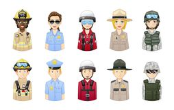 Rescue and safety professionals - People avatars set stock illustration