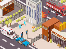 Rescue Service Composition. Isometric 3d rescue service composition with fire engine police and ambulance cars near bank building vector illustration Stock Photography