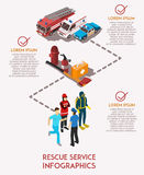 Rescue Service Infograhics. Isometric infographics with text field rescue service workers their cars and equipment vector illustration Royalty Free Stock Photo