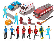 Rescue Service Isometric Set. Rescue service workers their cars and equipment isometric set isolated on white background 3d vector illustration Stock Photo