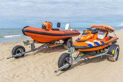 Rescue service RIB and jet ski Stock Images