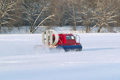 Rescue Service snowmobile patrol on duty. In wither day Stock Photo