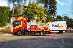 Rescue services towing car in Israel Royalty Free Stock Images