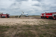 Rescue services training. September  27, 2016. Kyiv, Ukraine. Large-scale rescue services training at the International airport Borispol. In the exercise was Royalty Free Stock Images