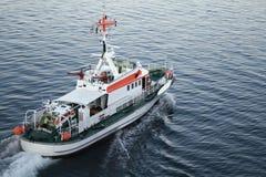 Rescue Ship. Sailing away in the harbor of Kiel Stock Photo