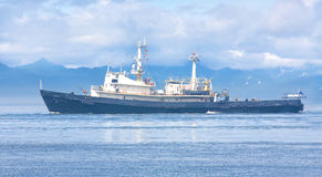 Rescue ship in the Avacha Bay of the Pacific ocean. Royalty Free Stock Photos