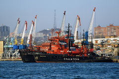 Rescue ships and harbour cranes in Vladivostok Stock Image