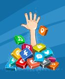 Rescue sinking in social networks internet dependence. Rescue sinking in social networks. Internet dependence concept. Hand sticking from pile of icons of social vector illustration