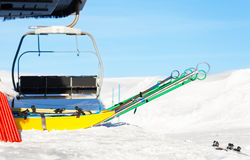 Rescue sleds standing near chairlift at ski resort Royalty Free Stock Photos