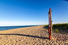 Rescue station on the beaches of Chappaquiddick. On Chappaquiddick island in Massachusetts. Reachable by boat from Martha`s Vineyard. This island is famous for stock photo