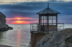 Rescue station at the Crimean coast. Royalty Free Stock Photo