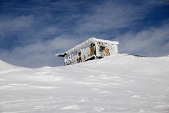 The rescue station in snowy winter mountains Royalty Free Stock Images