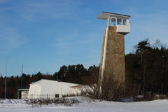 Rescue station with a tower. On a winter beach Royalty Free Stock Images