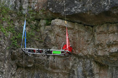 Rescue stretcher. Mountian rescue stretcher hanging during an exercise Stock Photo