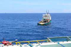 The rescue and supply boat for oil rig operation. Royalty Free Stock Images