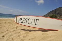 Rescue Surboard at Kaena Point. Rescue Surfboard at Kaena Point State Park in Oahu, Hawaii Stock Images