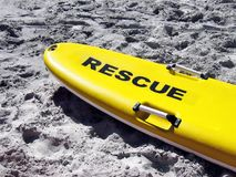 Rescue surf-ski. Photo of the front end of a yellow surf-ski stock photography