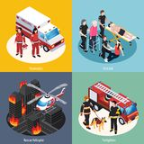 Rescue Team 2x2 Design Concept. Set of paramedics firefighters rescue helicopter and first aid isometric compositions vector illustration Royalty Free Stock Photo