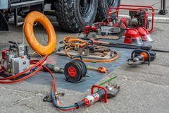Rescue team equipment on the street day royalty free stock photo