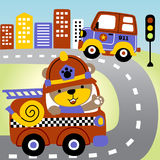 Rescue team. Firetruck and police patrol go to the rescue , vector cartoon illustration. EPS 10 Stock Photo