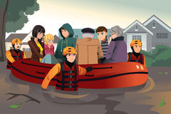 Rescue team helping people during flooding. A vector illustration of rescue team helping people by pushing a boat through a flooded road stock illustration