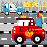 Rescue team. Patrol car and fire truck ready to rescue, vector cartoon illustration Stock Image