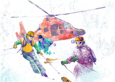 Rescue Team (skiers) Stock Photography