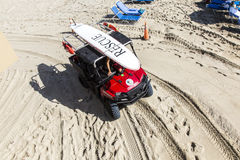 Rescue team on their way to the lifeguard towers Royalty Free Stock Image