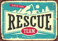 Rescue team vintage old sign for ski patrol stock illustration