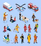 Rescue Teams Isometric Set. With people in professional uniform engaged in medical healthcare and fire control vector illustration royalty free illustration