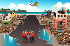 Rescue Teams Searching Through the Destroyed Building. A vector illustration of rescue teams searching through the destroyed building during the tsunami vector illustration