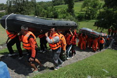Rescue. Tim search and rescue take exercise with rubber boat on cengklik lake or reservoir, Ngemplak, Boyolali, Central Java, Indonesia Stock Photo