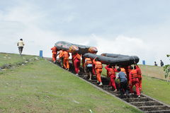 Rescue. Tim search and rescue take exercise with rubber boat on cengklik lake or reservoir, Ngemplak, Boyolali, Central Java, Indonesia Royalty Free Stock Image