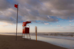 Rescue tower on the coast Stock Photo