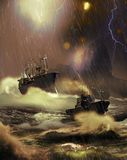Rescue under the storm. Big Cargo ship arriving to the coast with the help of a tugboat, under a terrible storm with dangerous lightnings Stock Photography