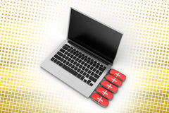 Rescue Usb Drive and Laptop in Halftone Background Stock Photos