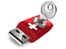 Rescue usb flash drive on white background. 3D image Stock Photography