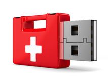 Rescue usb flash drive on white background. 3D image Royalty Free Stock Photo