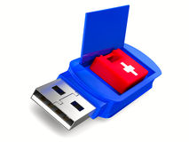 Rescue usb flash drive on white background Stock Photography