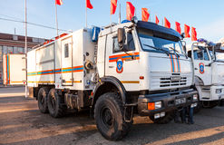 Rescue vehicle parked up in the street in sunny day Royalty Free Stock Photography