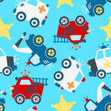 Rescue vehicles seamless pattern. Seamless pattern of different rescue vehicles Royalty Free Stock Images