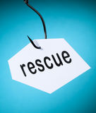 Rescue word on hook Royalty Free Stock Photo