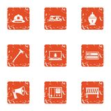 Rescue worker icons set, grunge style. Rescue worker icons set. Grunge set of 9 rescue worker vector icons for web isolated on white background Royalty Free Stock Photo