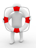 Rescuer with lifebuoy ring on white background Royalty Free Stock Photography