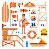 Rescuer lifesaver worker man on beach and of life-saving service lifeguard beach devises vector illustration. Safeguard safety water buoy emergency help Royalty Free Stock Photography