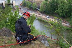 Rescuer on the rope, exercise special police units Royalty Free Stock Photo
