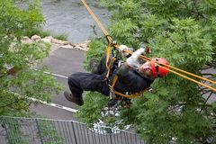 Rescuer on the rope, exercise special police units Stock Photo
