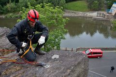 Rescuer on the rope, exercise special police units. The real situation, the Czech Republic, the city of Kadan Royalty Free Stock Photography