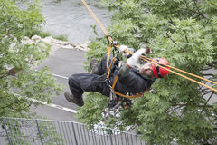 Rescuer on the rope, exercise special police units Stock Image
