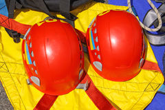Rescuer's protective helmets Stock Photography